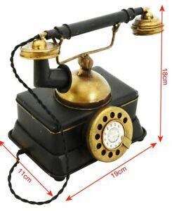 Vintage Hand Painted Telephone Metal Ornament Decorative Sculpture