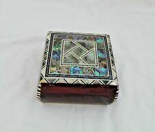 "Egyptian Inlaid Mother of Pearl Paua Handmade Square Jewelry Box 3.75"" # 450"