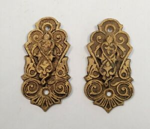 Antique Victorian East Lake Brass Keyhole Escutcheon Covers - Matching Pair #1