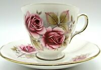 Vintage Queen Anne large pink roses bone china cup and saucer England