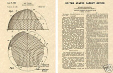 GEODESIC DOME US PATENT Art Print - BUCKMINSTER FULLER Building READY TO FRAME!!