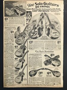 Vintage 1930 Ward's Musical Solo Guitars  Instruments B&W Print Ad 9x13 MWC 392