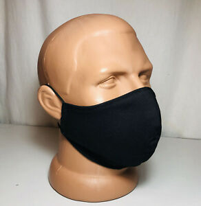 Black Washable Reusable Triple Layer Face Cotton Mask made in USA