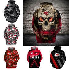 Kansas City Chiefs Hoodie Zipper Hooded Jacket Sweatshirt Pullover Casual Coat