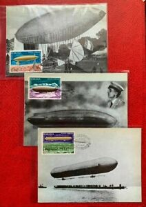 Romania 1978 Zeppelin Airship Frist Day Canceled 3 PostCards