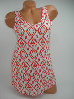 Attention Tank Top Womens Shirt Blouse Orange White Sleeveless