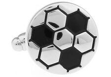 Soccer Ball Cufflinks Silver Black Wedding Fancy Gift Box Free Ship USA