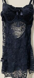 RAMPAGE INTIMATE NAVY LACY PUSH-UP CUPS SLIMMING BODICE & FLOW TWIRL LINGERIE