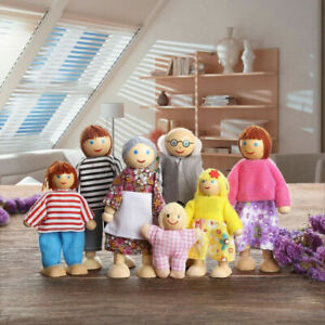 Wooden Furniture Dolls House Family Miniature 2/4/7 People Doll Kids Toys Gift