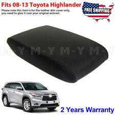 Fits 2008-2013 Toyota Highlander Leather Center Console Lid Armrest Cover Black