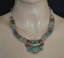 ethnic tibetan turquoise sterling silver necklace coral handmade jewelry 2A