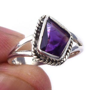 African Amethyst Gemstone Handmade 925 Solid Sterling Silver Ring Size 6