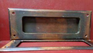 VINTAGE LARGE HEAVY CAST BRONZE MAIL LETTER SLOT & INSIDE TRIM PLATE #A0207