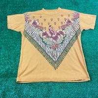 Vintage 80's Floral Women's Large Orange T Shirt Large Print Glitter