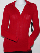 NWT$139 Lauren Ralph Lauren Collared Sweater XS Lambwool Cashmere Red Cable Knit