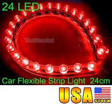US Ship For Car 24 Led Flexible Strip Red Light Bulbs Waterproof 12V 24cm Neon