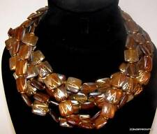 Haute Couture Vintage BARRERA Gold Painted Brown Lucite Torsade Necklace