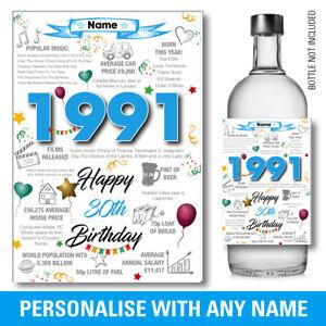 1991 30th PERSONALISED GIN VODKA WINE bottle label birthday Year Sticker 151