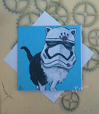 Tarjeta de arte Stormtrooper Gato Blanco De La Pintura Original Arte Steampunk Star Wars
