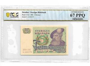 Sweden/Sveriges Riksbank Pick#51d 1981 5 Kronor PCGS 67 PPQ