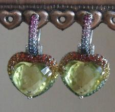 Citrine Heart White Gold 14 Carat Fine Earrings