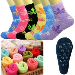 For Womens 10 Pairs Soft Winter Non-Skid Cozy Fuzzy Maple Slipper Socks 9-11
