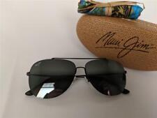 Maui Jim CINDER CONE Polarized Titanium Sunglasses 789-2M Matte Black/Gray Pilot