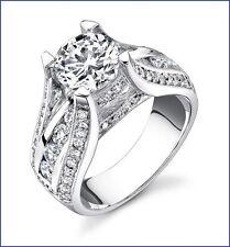 Gorgeous Large 1.50ct Diamond 18K White Gold Designer Engagement Semi Mount