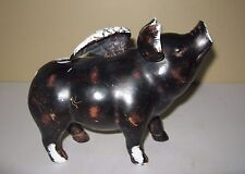 Resin Brown And White Pig With Wings Figurine