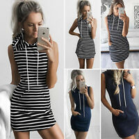 Womens Sleeveless Long T-shirt Tops Casual Party Bodycon Short Mini Dress Blouse