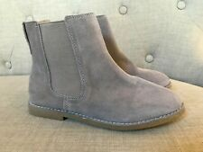 Crewcuts J Crew Girls Fossil Grey Suede Leather Chelsea Ankle Boot Size 3