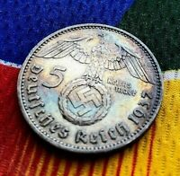 1937 A 5 Mark German WW2 Silver Coin Third Reich Swastika Reichsmark