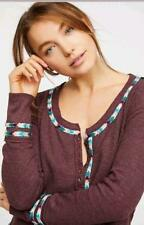 nwt FREE PEOPLE sz M RAINBOW THERMAL in Wine (We the Free)