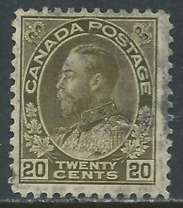 Canada #119(17) 1912 20 cent olive green GEORGE V Used CV$3.00