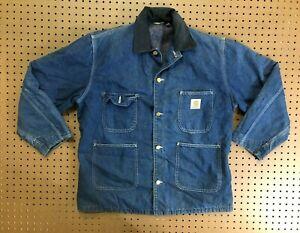 MENS LARGE - Vtg Carhartt Denim Blanket Barn Chore Coat Jacket