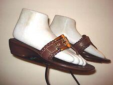 GEOX Respira Brown Leather Woven Monk Strap Thong Sandal Sz. 37/6.5 MINTY!