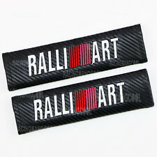 1Pair Ralliart Universal Black JDM Carbon Look Car Seat Belt Cover Shoulder Pads