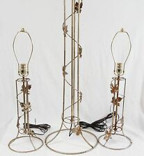 Mid Century Chrome Wire Table Lamps Pair & Floor Set Vintage Industrial Atomic