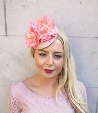 Rose Gold Peach Pink Sequin Rose Flower Fascinator Hat Hair Clip Wedding 4015