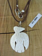 Laccio + Ciondolo Osso inciso simbolo tribale CORVO Tribù Nativi Western Canada