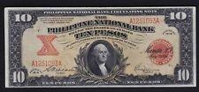 1916 PHILIPPINES National Bank TEN Peso WASHINGTON serial #A1251093 AU/UNC
