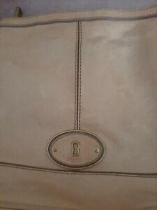 FOSSIL Tan Brown LEATHER Logo Key Zip SATCHEL CROSSBODY MESSENGER BAG