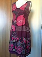 "WHITE STUFF Burgundy Pink Floral Print Dress Sz 12 L35"" SILK BLEND Lace Hem B11"