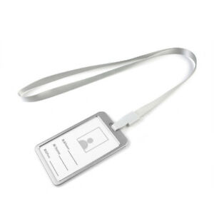 2021 Metal ID Badge Card Holder Business Security Pass Tag Holder w/ Lanyard US!