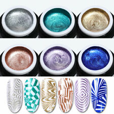 6Box BORN PRETTY Glitter Powder Stamping Gel Kit Gold Silver for Stamping Plates
