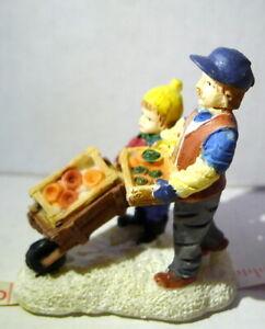 Winter Garden Boy and Dad Wheelbarrow Decoration Christmas Figurine