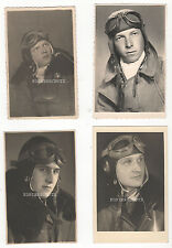 4 Original Portrait Fotos Luftwaffe Pilot Fliegerkopfhaube / Fliegerbrille 2. WK