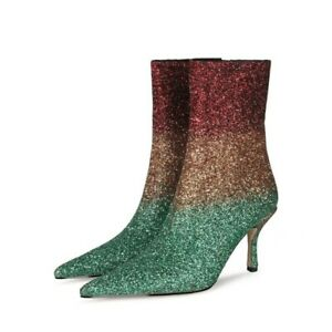Women Pointy Toe Sexy Blingbling Patchwork Pattern High Heel Ankle Boots Party L