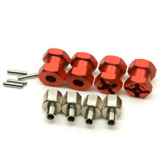 Alum 12mm Hex Adaptor Wheel (4) Hub 15mm Offset For SCX10 WRAITH RC4WD D90 Red