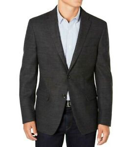 Tommy Hilfiger Mens Blazer Weave Gray Size 44 Long Classic Fit Wool $350 #083